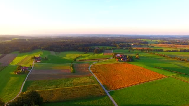 Aerial view: Bavarian landscape in autumn