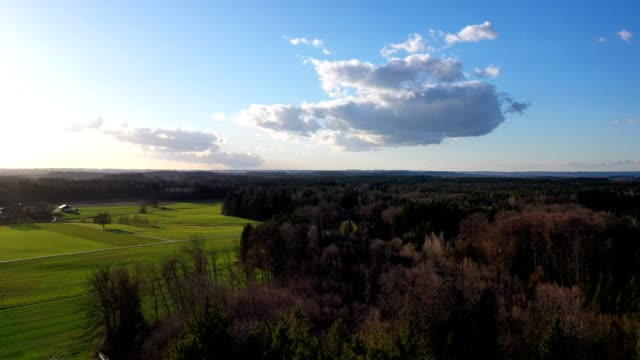 aerial view: bavarian landscape in spring. - pinaceae stock videos & royalty-free footage