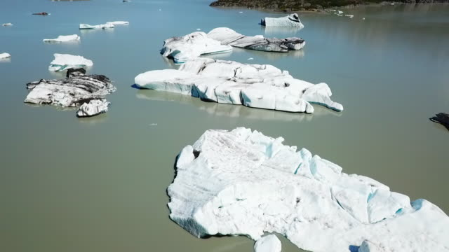 Aerial View Bay with Small Icebergs