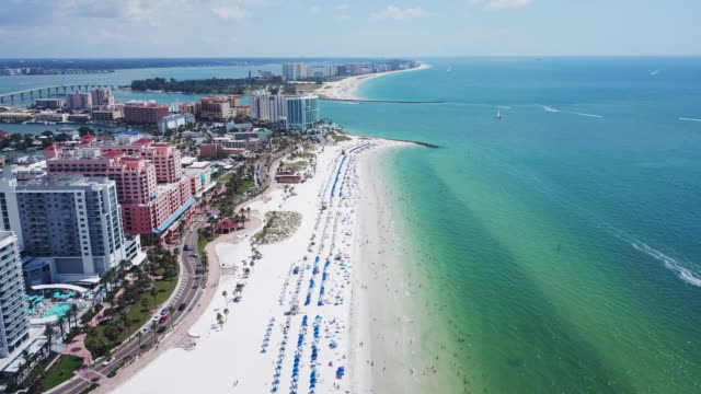 aerial view beachfront & ocean in florida - フロリダ州点の映像素材/bロール