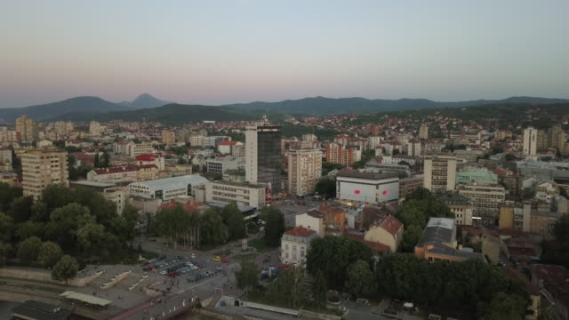 aerial view beautiful city of nis in sunset - serbia stock videos & royalty-free footage