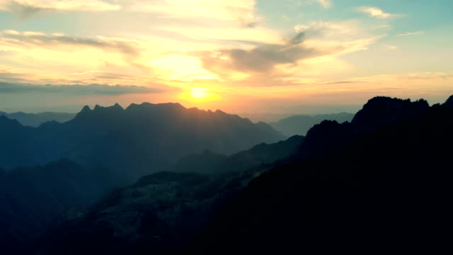 aerial view beautiful of mountain sunset - valle video stock e b–roll