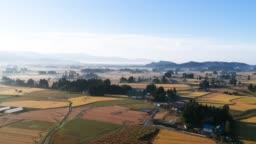 Aerial View Beautiful Swamp Morning,Akita Japan