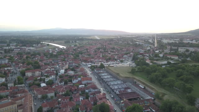 aerial view beautiful town of nis in sunset - serbia stock videos & royalty-free footage