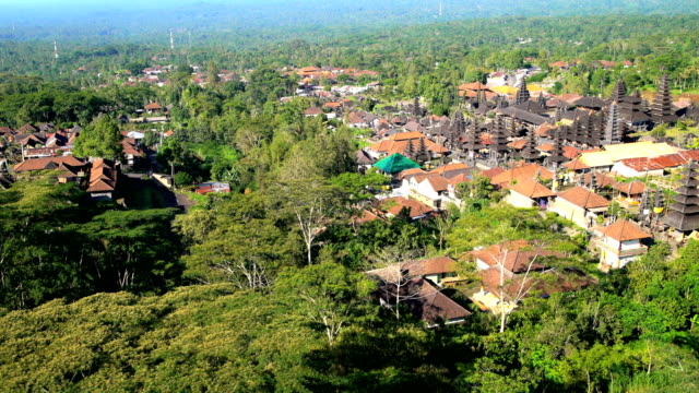 Aerial view Besakih Temple Mt Agung Rainforest Bali