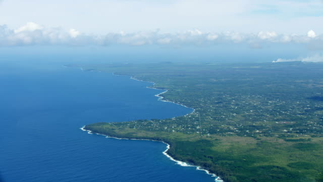 aerial view big island smoke from open fissure - north america stock videos & royalty-free footage