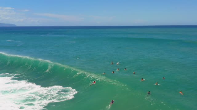vídeos de stock, filmes e b-roll de aerial view blue ocean with surfers & bodyboarders waiting for the right wave - pipeline wave