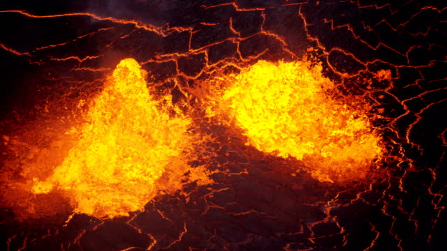 aerial view boiling hot magma active volcano fissures - volcano stock videos & royalty-free footage