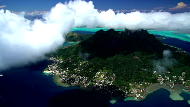 aerial view bora bora island and mt pahia - bora bora aerial stock videos and b-roll footage