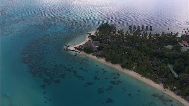 aerial view bora bora mt otemanu french polynesia - french polynesia stock videos & royalty-free footage