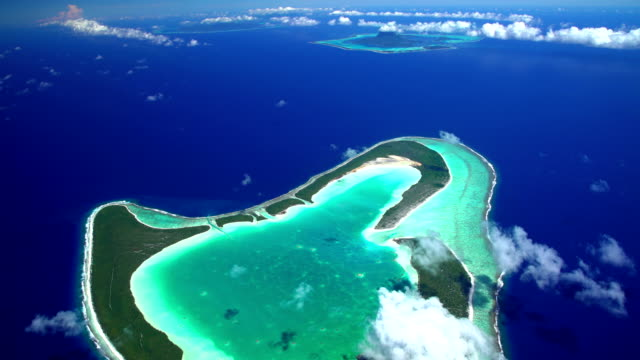 aerial view bora bora tupai and tahaa islands - isola di tahaa video stock e b–roll