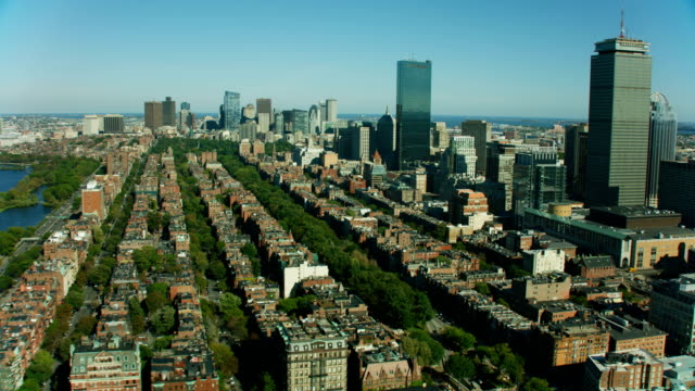 aerial view boston city skyscrapers commonwealth avenue massachusetts - massachusetts stock videos & royalty-free footage