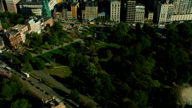 aerial view boston common parkman bandstand massachusetts america - bandstand stock videos and b-roll footage