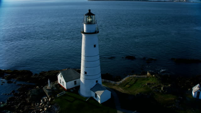 aerial view boston light brewster island city skyscrapers - new england usa stock videos & royalty-free footage