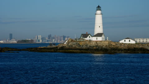 aerial view boston light plymouth county city skyscrapers - massachusetts stock videos & royalty-free footage