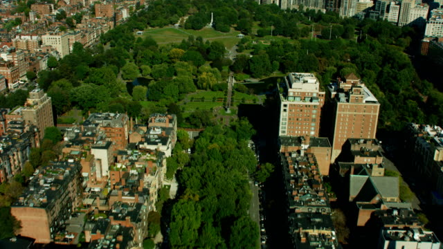 aerial view boston public garden commonwealth avenue massachusetts - avenue stock videos & royalty-free footage