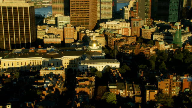 aerial view boston state house financial district massachusetts - massachusetts stock videos & royalty-free footage