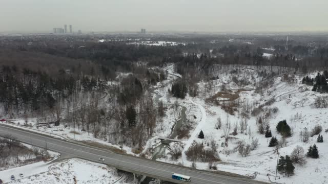 aerial view boyd conservation park and rutherford rdoa at woodbridge town in winter, vaughan, ontario, canada - ontario canada stock videos & royalty-free footage