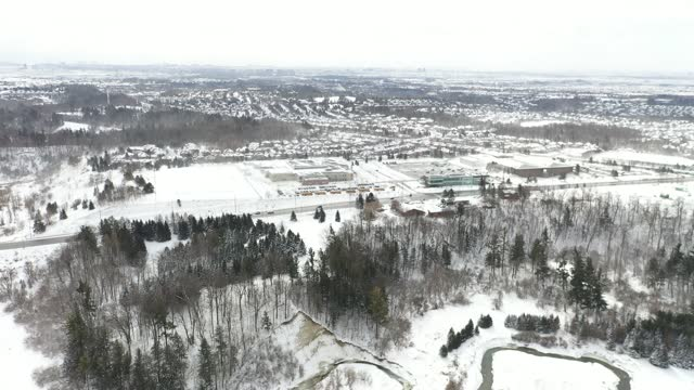 aerial view boyd conservation park at woodbridge town in winter, vaughan, ontario, canada - ontario canada stock videos & royalty-free footage