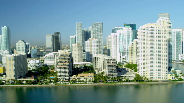 aerial view brickell key downtown financial skyscrapers miami - biscayne bay stock videos & royalty-free footage