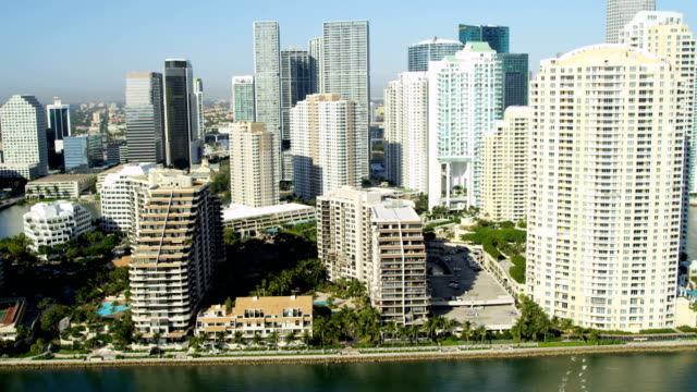 aerial view brickell key hotels and condominiums miami - biscayne bay stock videos and b-roll footage