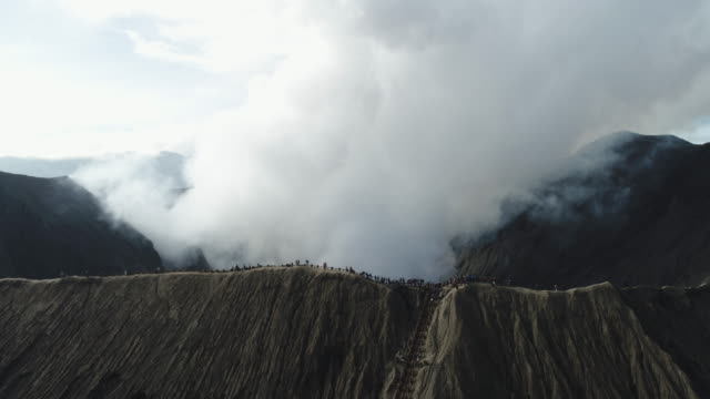 aerial view bromo volcano, east java, indonesia - bromo crater stock videos & royalty-free footage