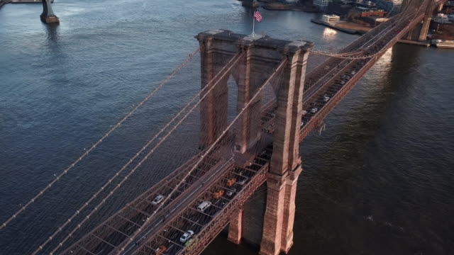 Aerial view Brooklyn Bridge sunset