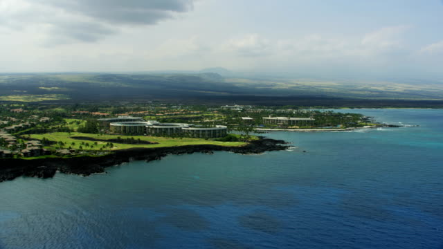 aerial view buddha point waikoloa holiday resort hawaii - golf club stock videos & royalty-free footage