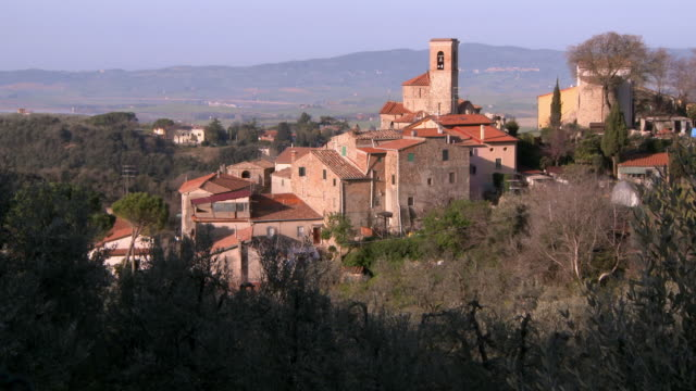 aerial view buildings in italian countryside - bell tower tower stock videos and b-roll footage