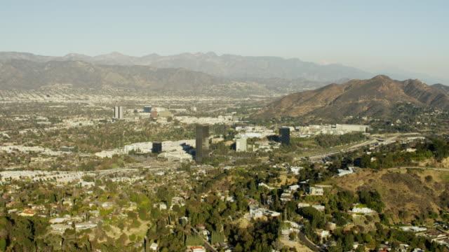 aerial view burbank and studio city los angeles - burbank stock videos & royalty-free footage