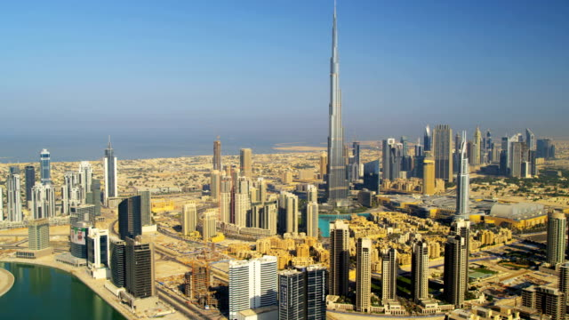 aerial view burj khalifa downtown dubai - burj khalifa stock videos & royalty-free footage