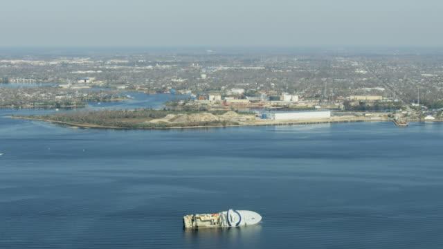 aerial view capsized alaskan trawler bay florida usa - capsizing stock videos & royalty-free footage