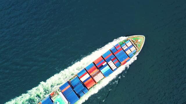 vídeos y material grabado en eventos de stock de vista aérea carga ship export/import - recipiente