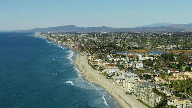 aerial view carlsbad village beach buena vista lagoon - carlsbad california stock videos & royalty-free footage