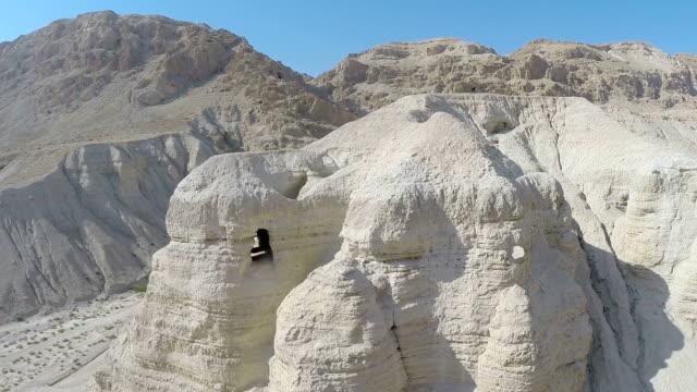 aerial view, caves where the dead sea scrolls were hidden, qumran - dead sea stock videos and b-roll footage