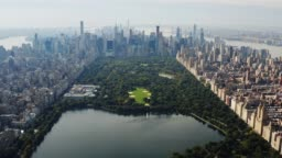Aerial view Central Park Manhattan New York City 4K