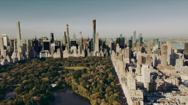 aerial view central park manhattan new york city 4k - central park manhattan stock videos & royalty-free footage