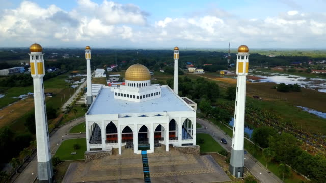 Aerial view Central Songkhla Mosque, Thailand with clear sky