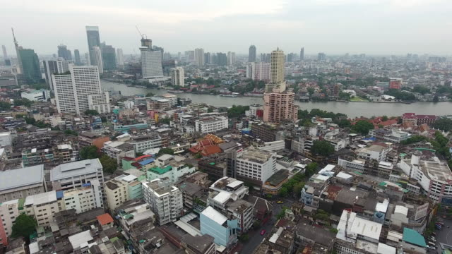 aerial view chao-phra-ya river, bangkok - mckyartstudio stock videos and b-roll footage