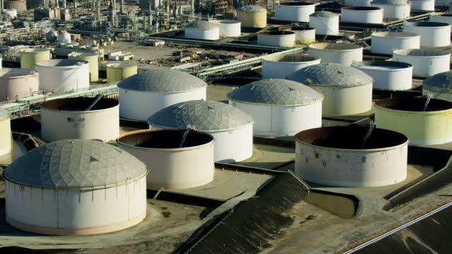 aerial view chemical storage tanks san pedro la - storage compartment stock videos & royalty-free footage