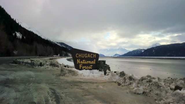 aerial view chugach national forest with sign - chugach national forest stock videos & royalty-free footage