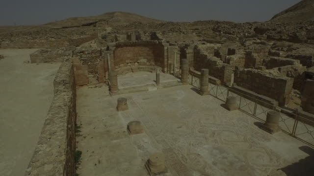 aerial view, church of st. nilus in mamshit the ancient nabataean city, in the negev desert, israel. - monastery stock videos & royalty-free footage