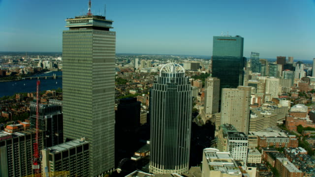 aerial view city buildings john hancock tower boston - massachusetts stock videos & royalty-free footage