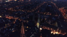 Aerial view city in night time