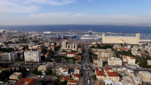 aerial view - city of haifa, haifa port, downtown haifa - haifa video stock e b–roll