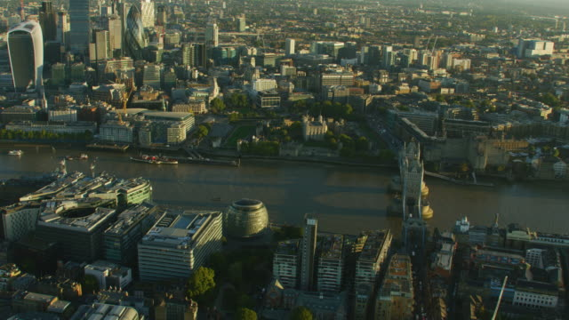 aerial view city of london skyline at sunrise - town hall stock videos & royalty-free footage