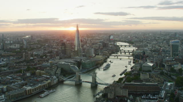 aerial view city of london skyline at sunset - tower bridge stock videos & royalty-free footage