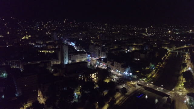 夜のニスの航空写真都市 - ヨーロッパ文化点の映像素材/bロール