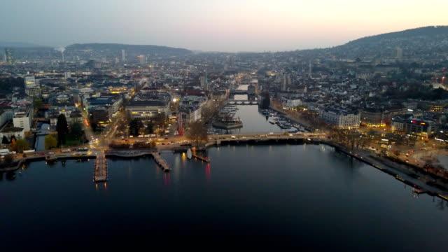 Aerial View City of Zurich dawn street lights