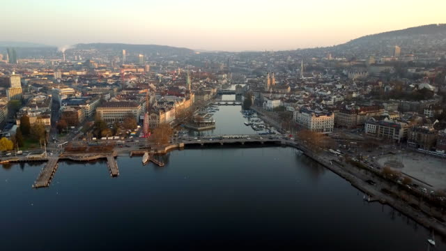 aerial view city of zurich dawn - morning stock videos & royalty-free footage